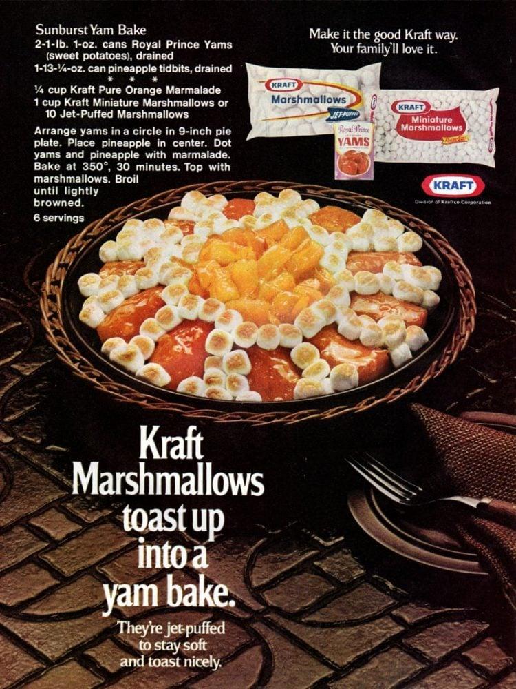 Sunburst yam bake recipe, with pineapple & marmalade (1972)