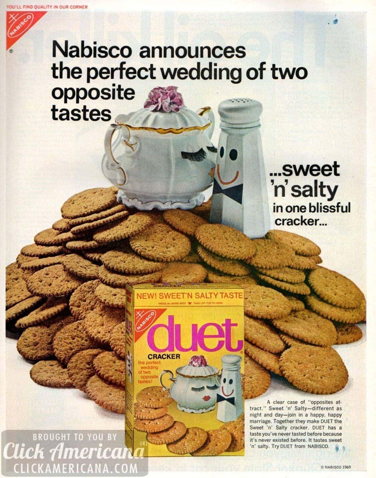 Opposites attract: Sweet 'n Salty Duet crackers (1969)