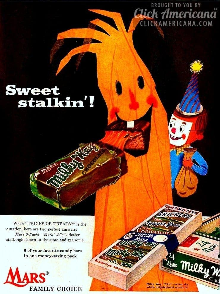 Mars Family Choice candy bars for Halloween (1955)