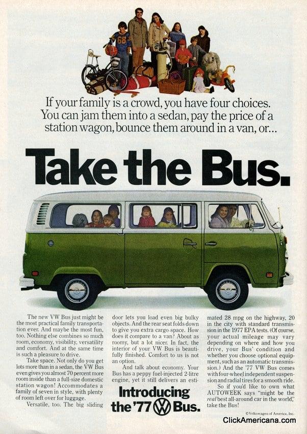 volkswagen bus ads  click americana