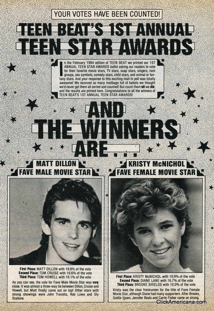 Teen Beat winners - 1984