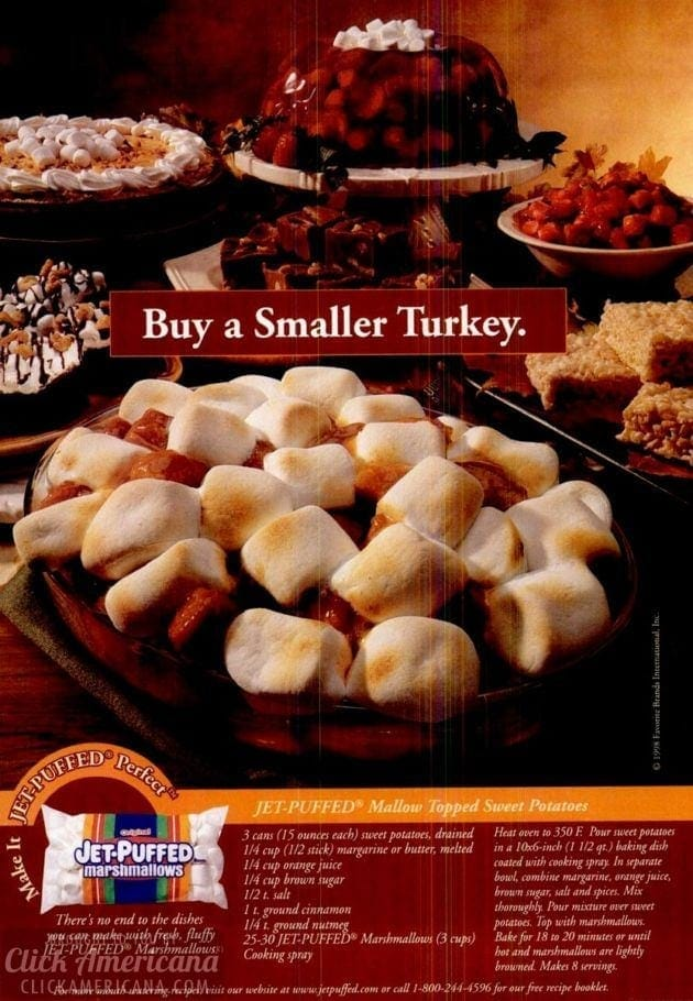 Marshmallow-topped sweet potatoes for Thanksgiving (1998)