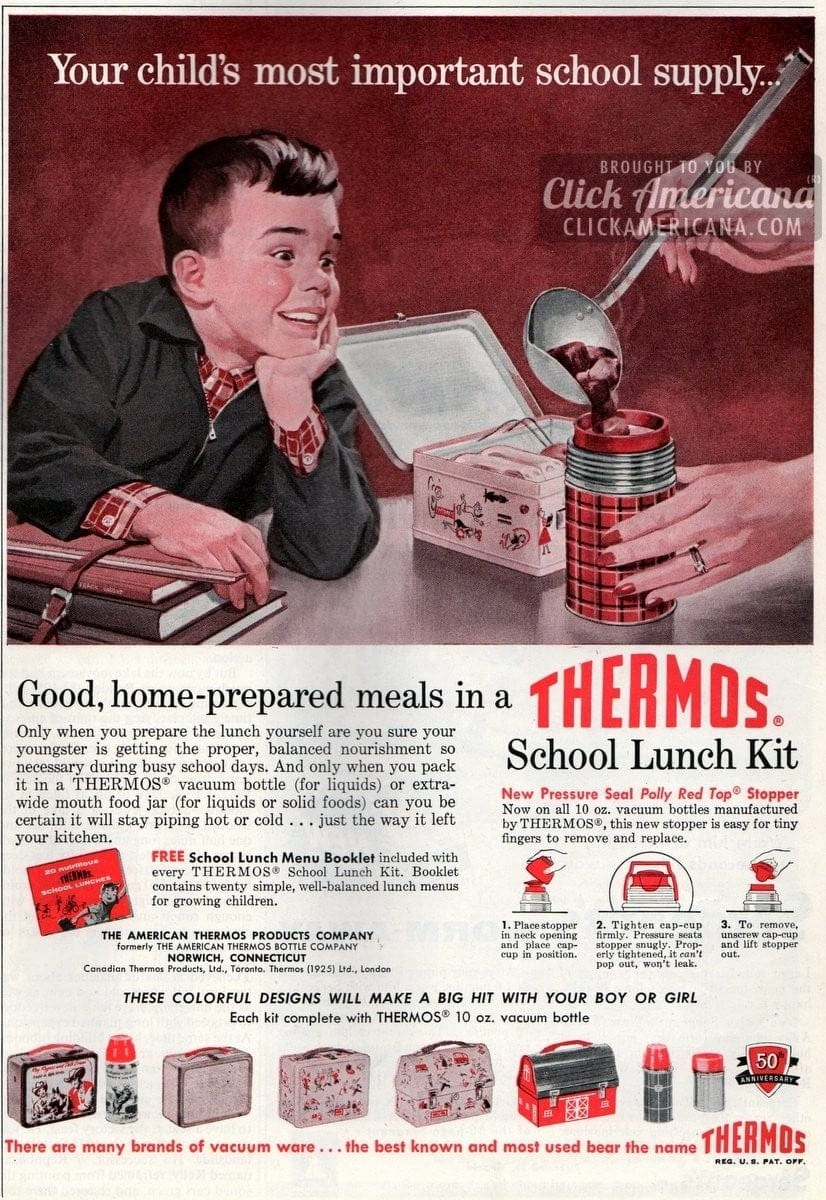 Home-prepared meals in a Thermos school lunch kit (1957)