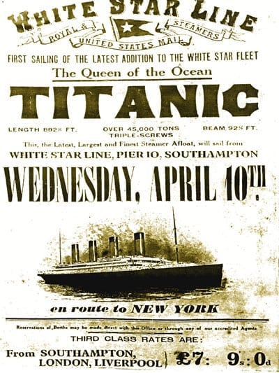 Titanic loss world's greatest marine disaster (1912)