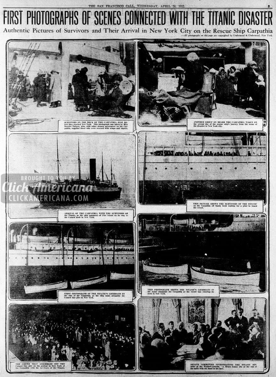 Titanic rescue: First Carpathia photos (1912)
