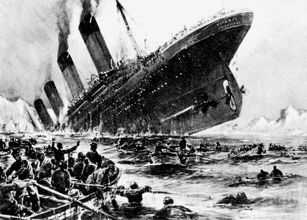 Titanic struck: Many leaped into the sea (1912)