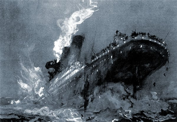 Scenes of horror and heroism on sinking Titanic (1912)