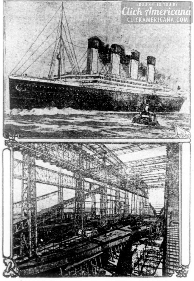 World's largest vessel, the Titanic, being built (1910)