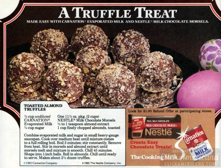 Toasted almond chocolate truffles (1985)