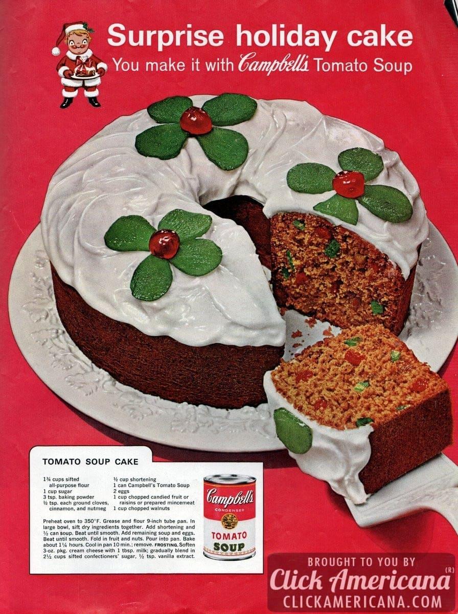 Tomato soup cakefruitcake recipe 1962 Click Americana