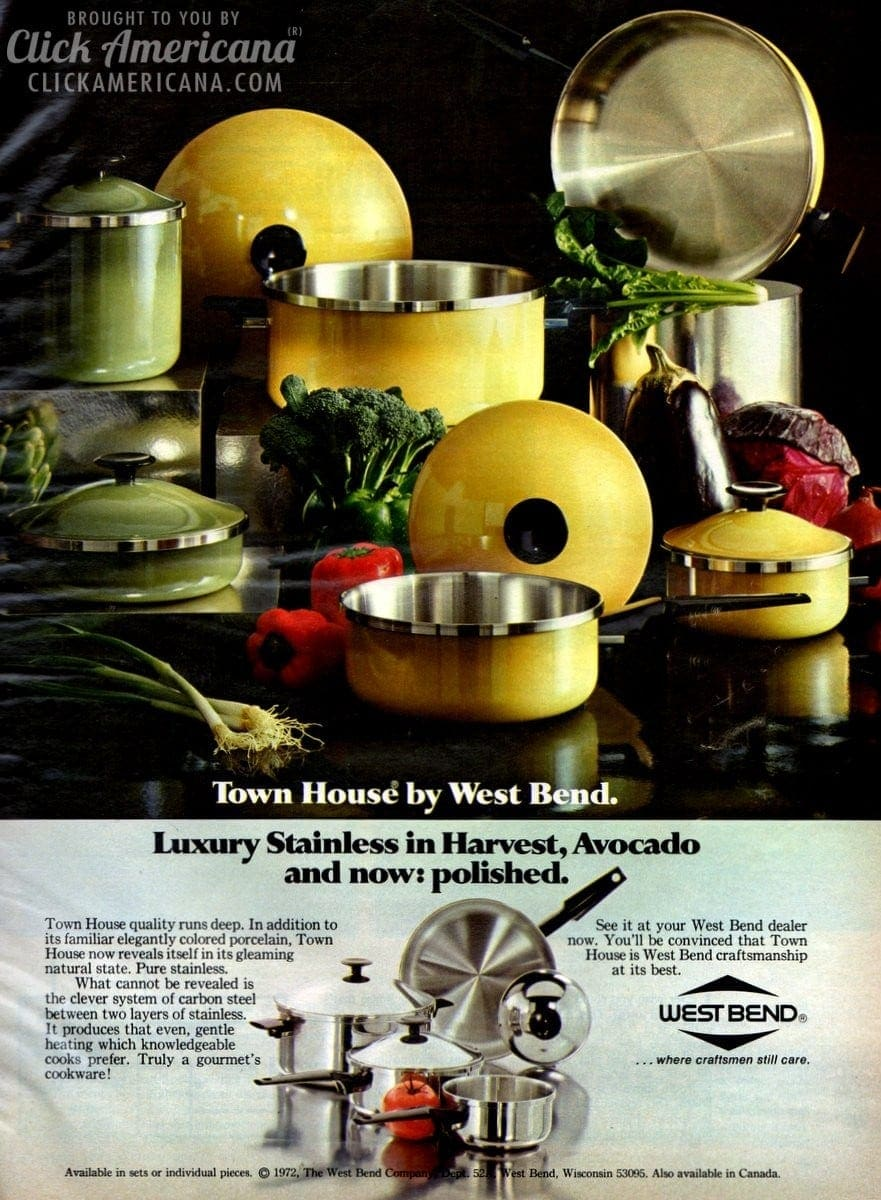 Stainless cookware in harvest, avocado, and polished (1972)