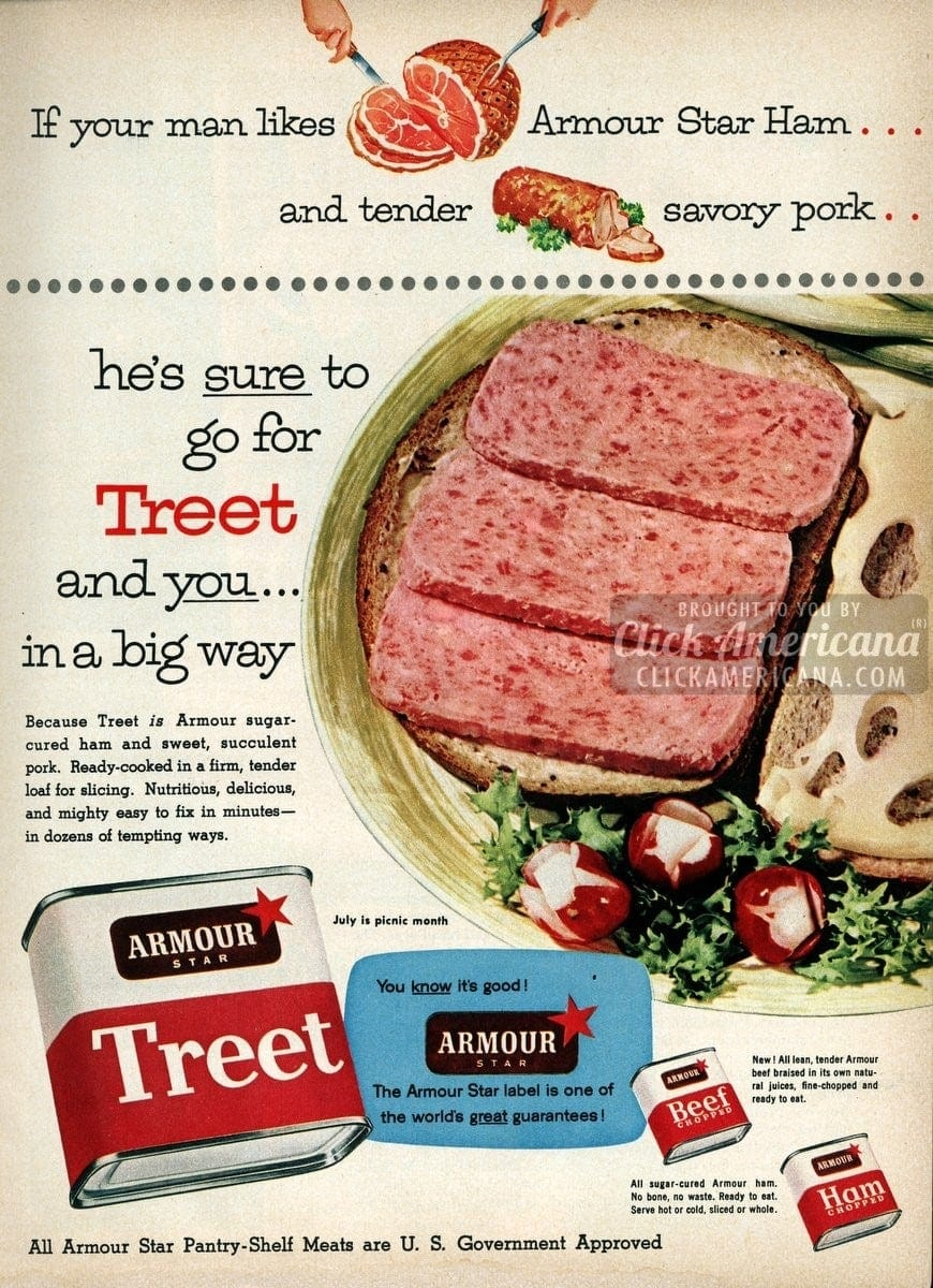 Armour Star sugar-cured ham in Spam-like Treet (1955)