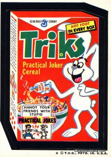 Triks - Practical joker cereal - Wacky Packages card