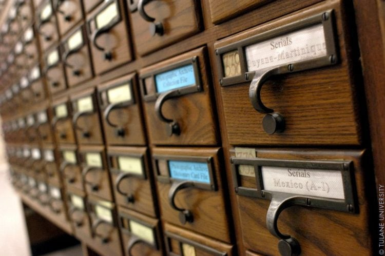 Card catalogs at Tulane University Library