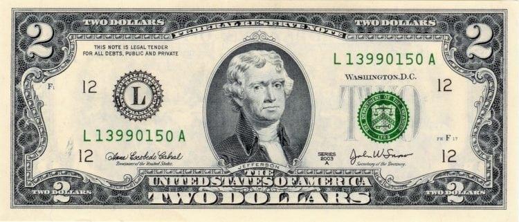 $2 - Two dollar bill