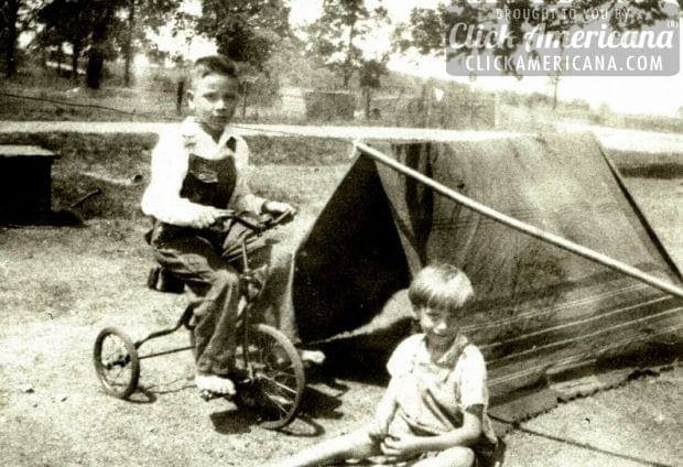 two-kids-tent-tricycle-vintage-photo