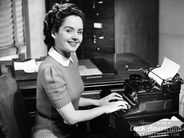 Vintage secretary with a typewriter