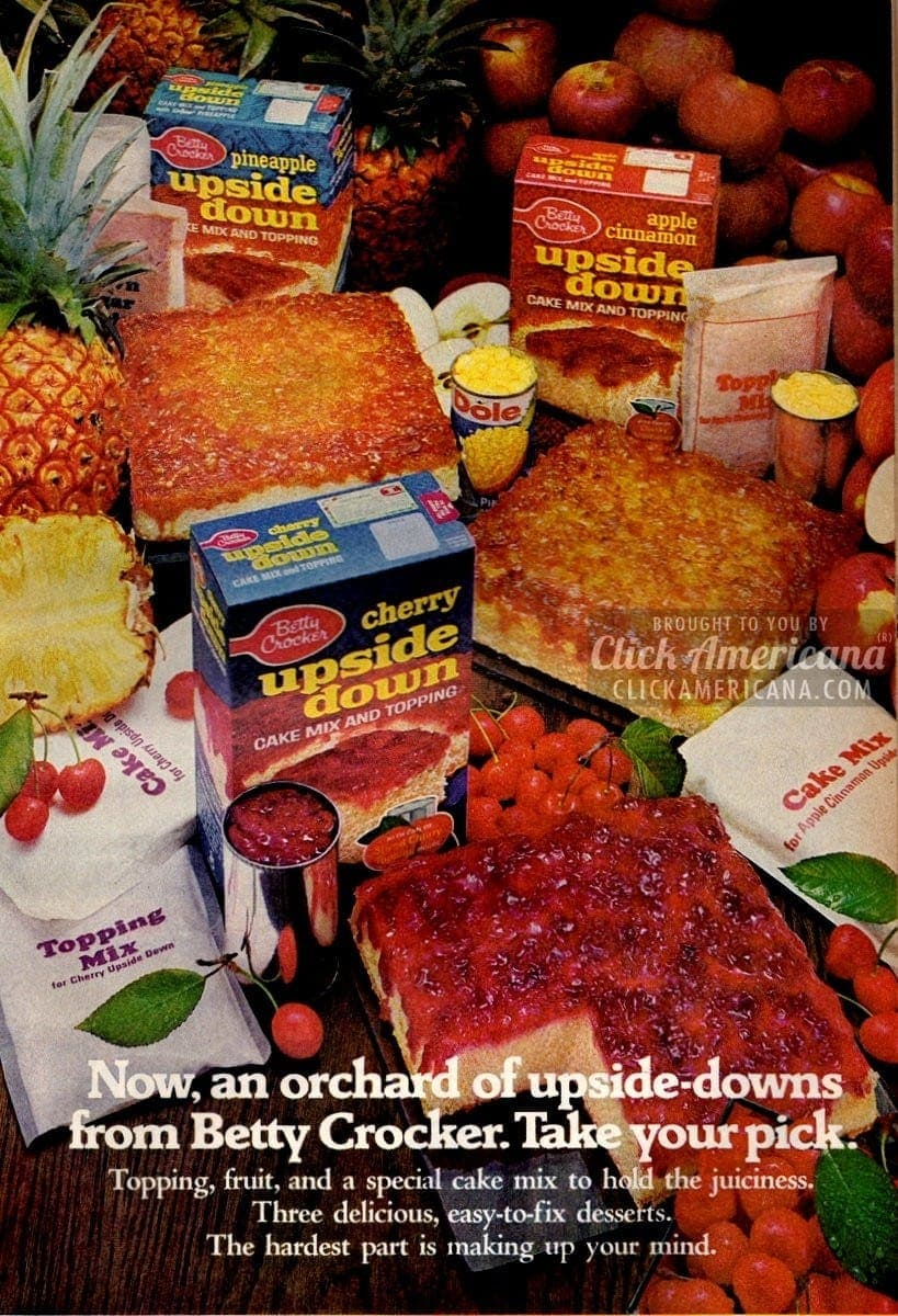 Apple, cherry & pineapple upside down cake mixes (1971)