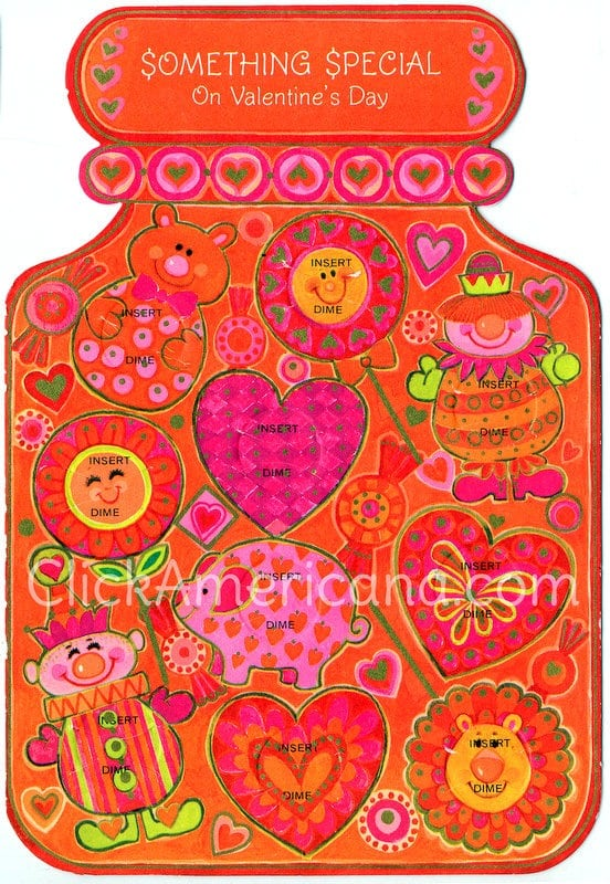 Vintage 1970s Valentine's Day card with spaces for coins - Insert dime slots