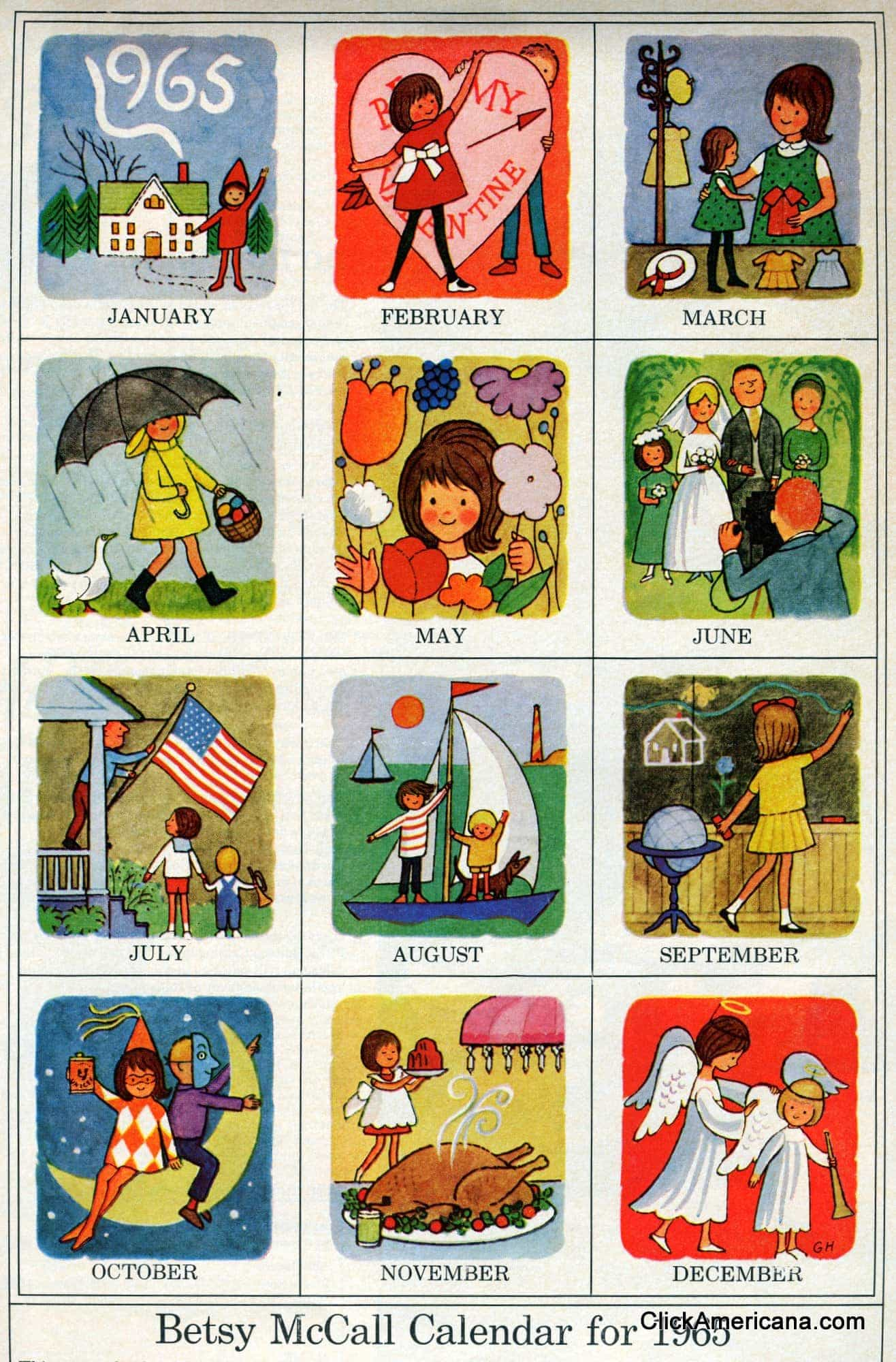 Month By Month Calendar Icons 1965 Click Americana