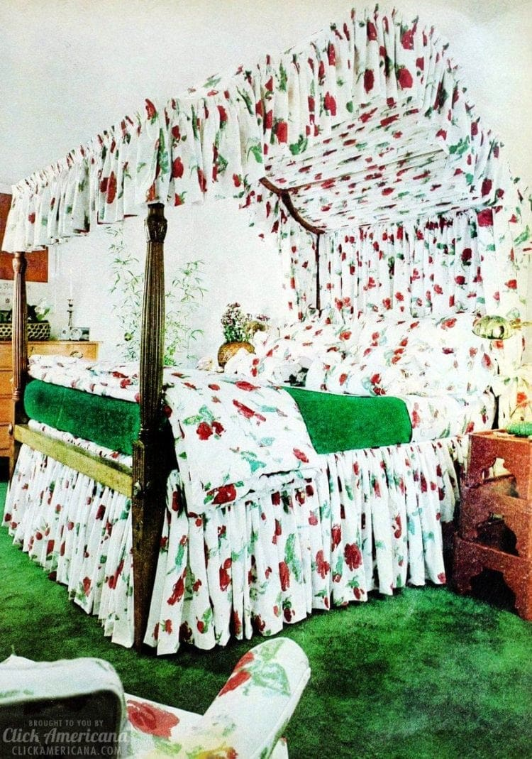 Old-fashioned canopy beds from the 70s