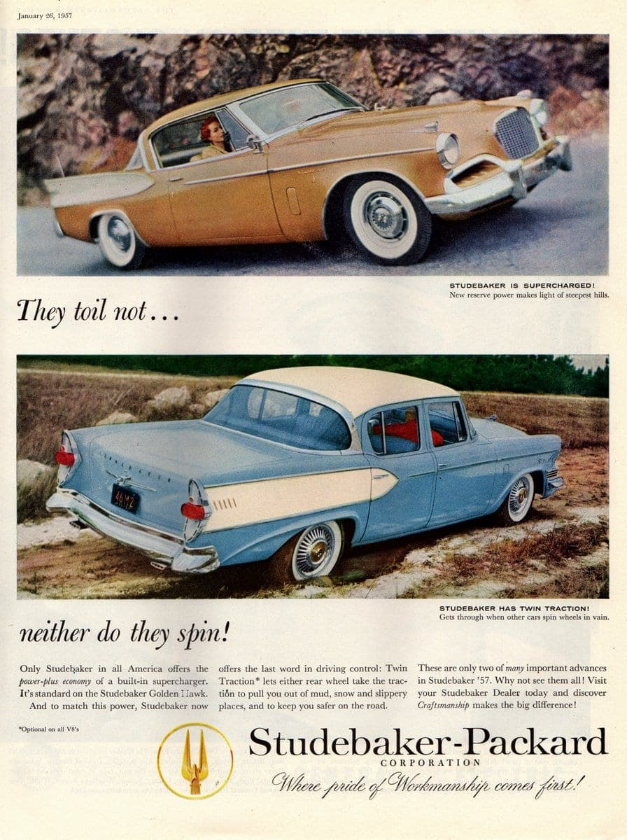 vintage car ad Studebaker 1957