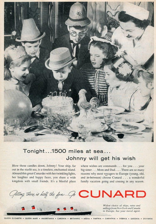 vintage cruises Cunard to europe 1958