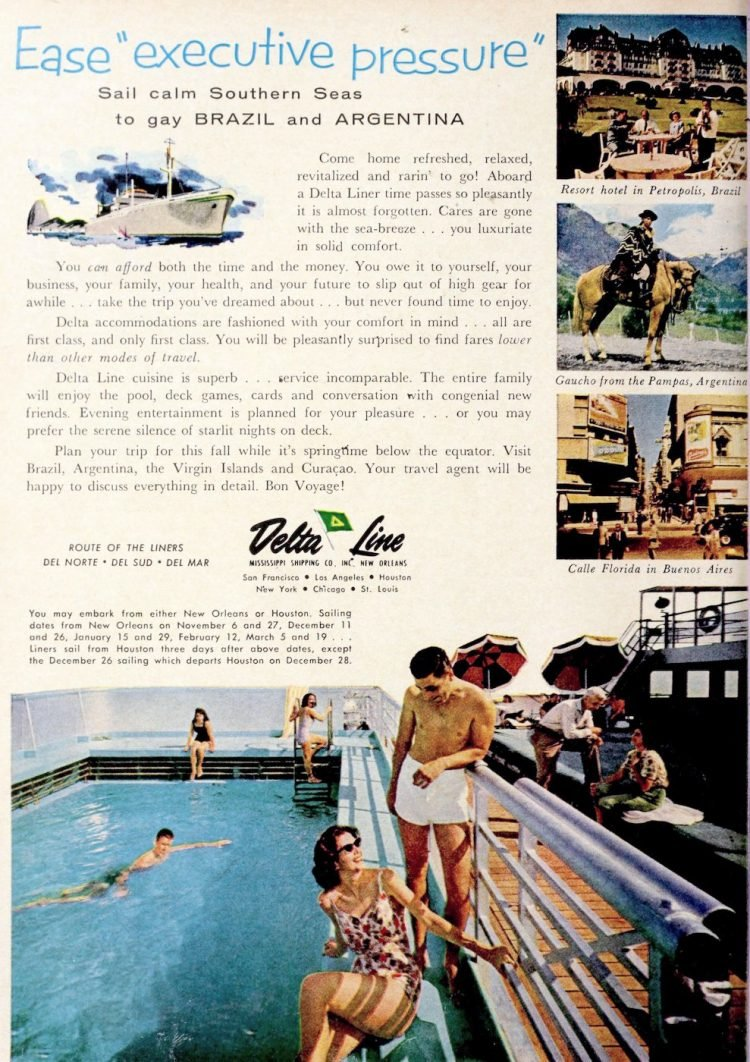 vintage delta line cruises to south america 1961