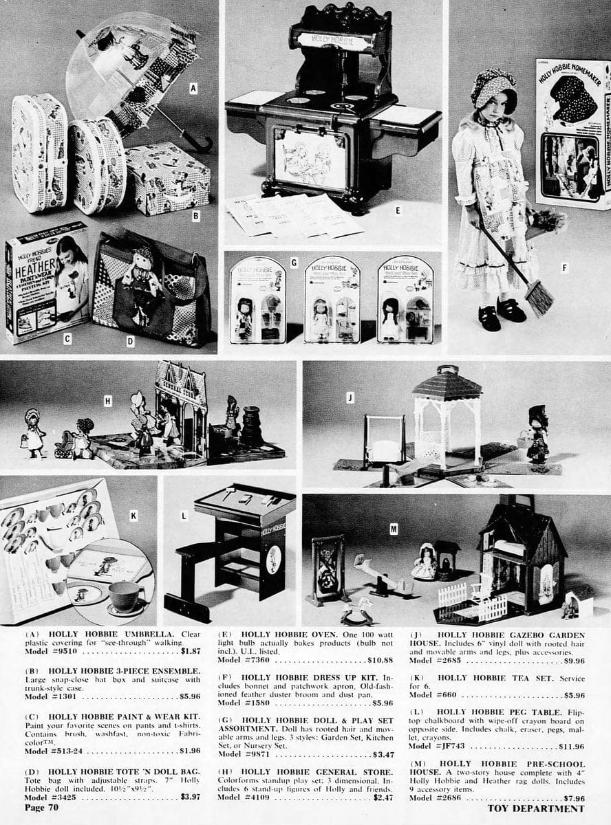 Assorted Holly Hobbie dolls and children's play sets (1976)