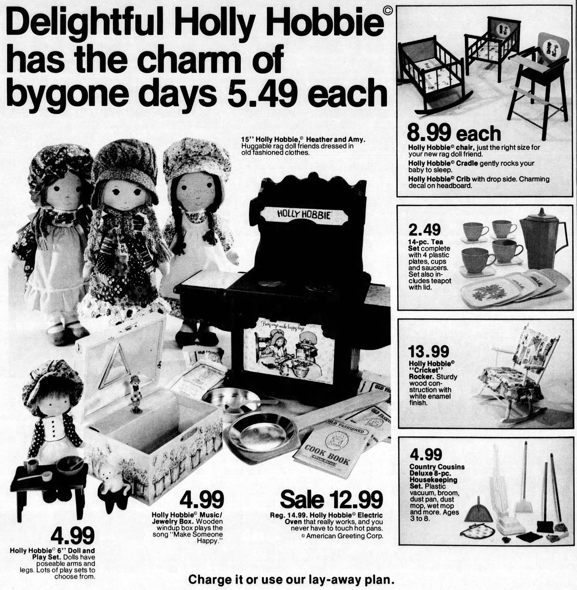 Delightful Holly Hobbie dolls and dollhouse (1976)