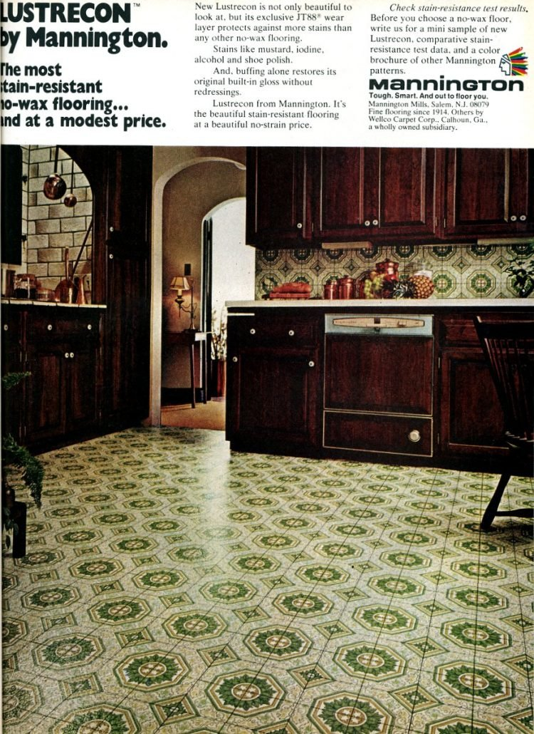 vintage mannington linoleum kitchen flooring 1975