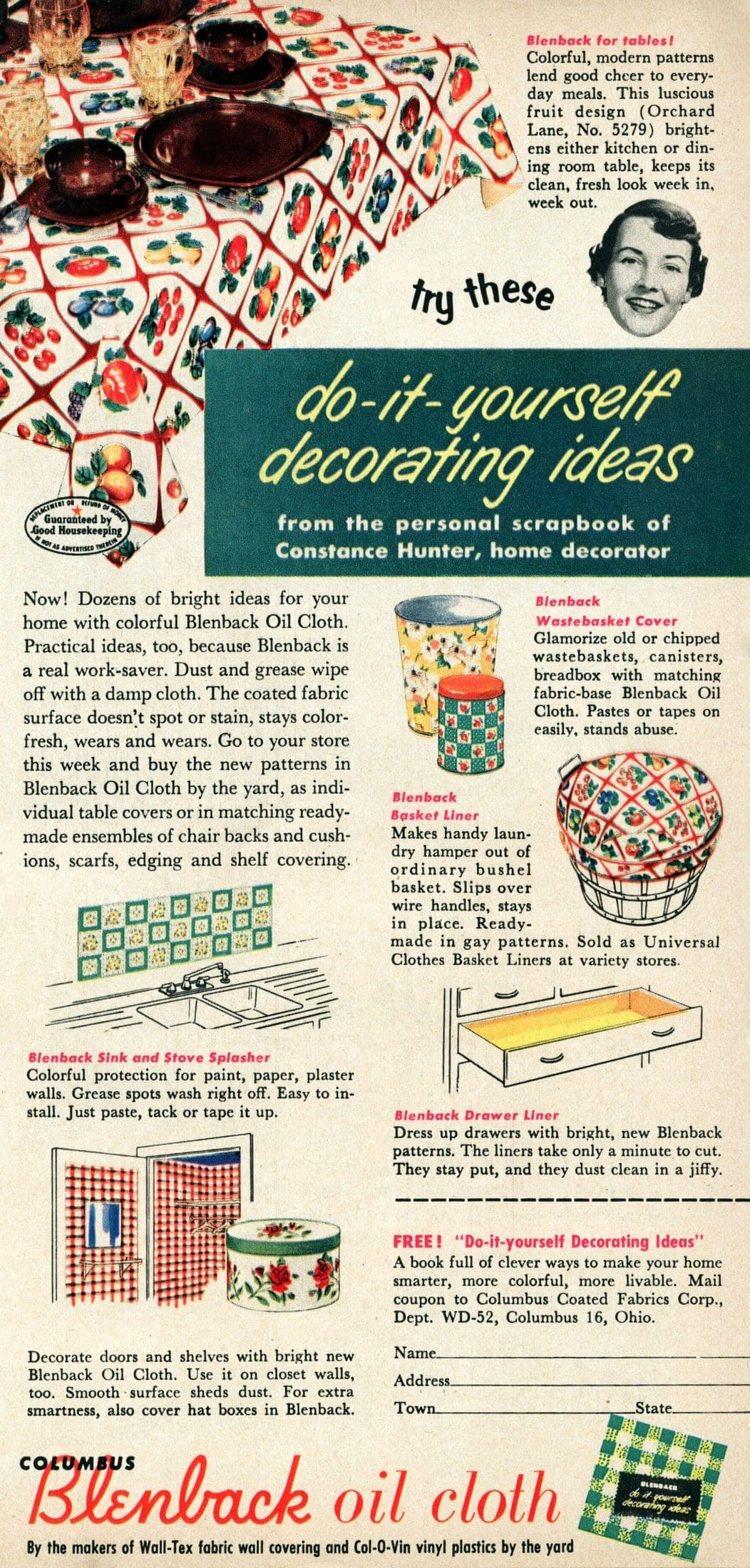 vintage oilcloth decor from 1952 (3)