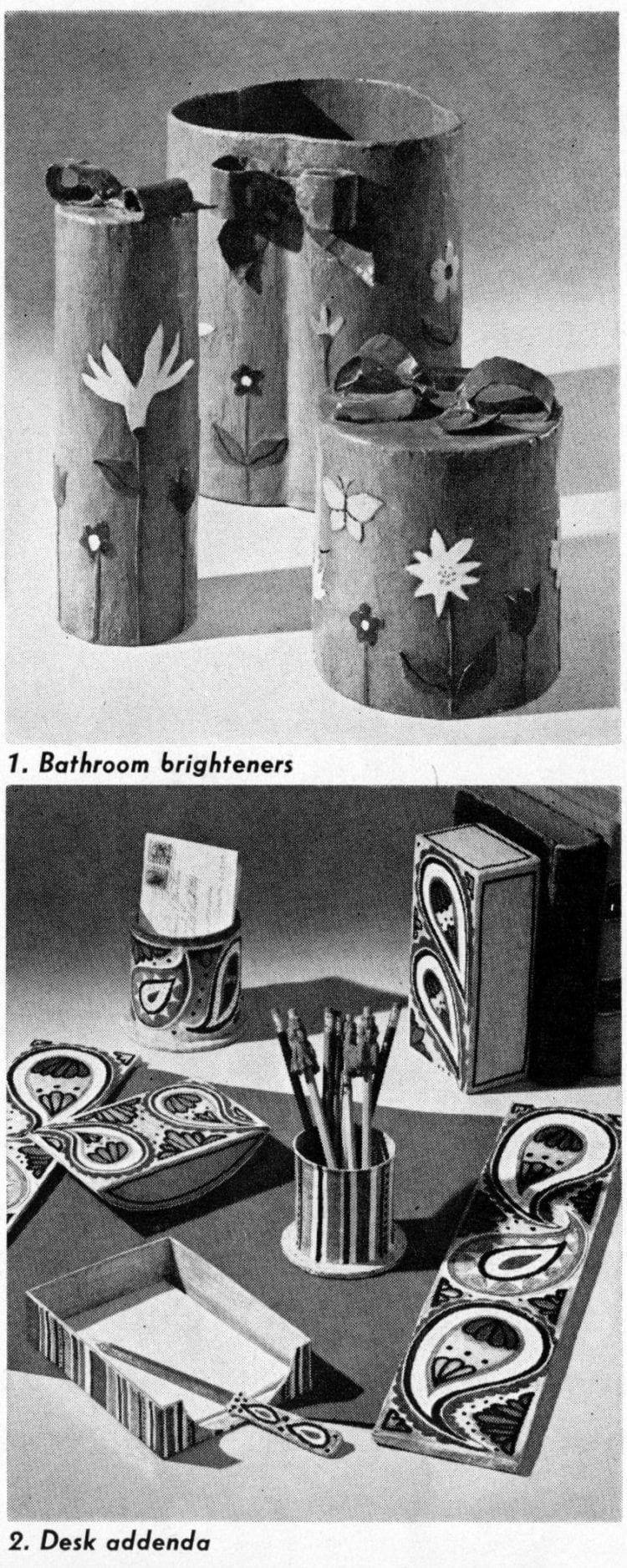 papier-mache crafts - Bathroom brighteners