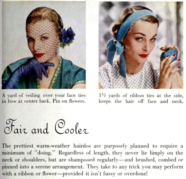 vintage hairstyle how-do directions from 1950