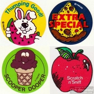 Smell this! 50+ vintage scratch 'n sniff stickers