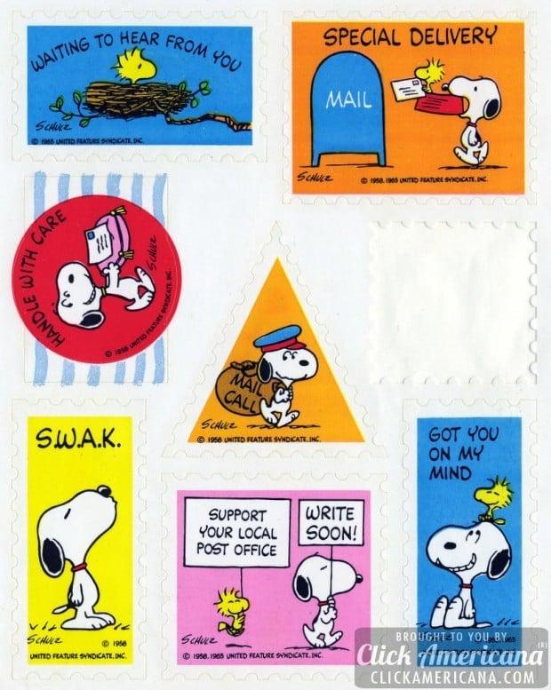 Vintage Peanuts postage/mail sticker sheet