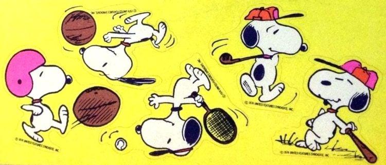 Snoopy gets sporty - retro sticker sheet
