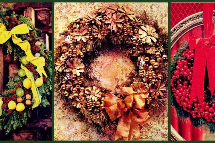 vintage-style handmade Christmas wreath craft project