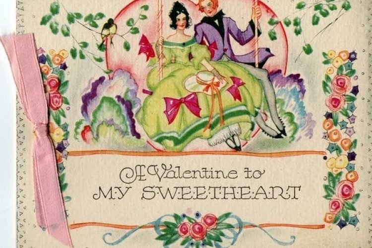 Vintage Valentine cards with ribbon , Click Americana
