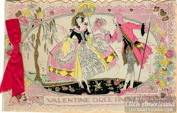 Vintage Valentine cards with ribbon Click Americana – Vintage Valentine Card Images