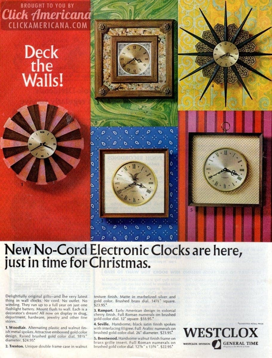 Deck the walls with Westclox electronic clocks (1966)