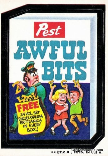 Pest Awful Bits - Wacky Packs card