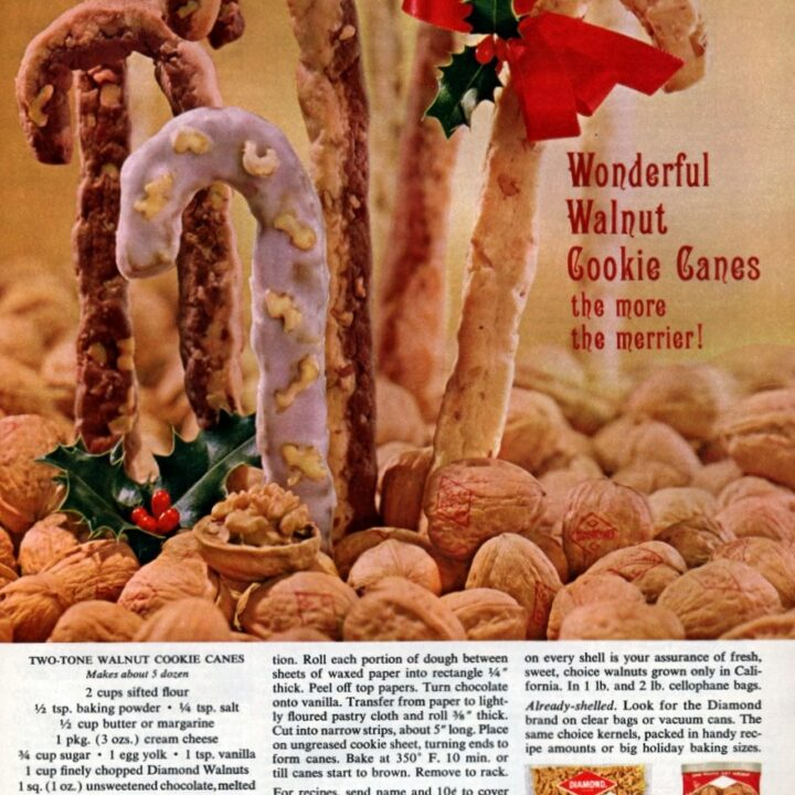 Two-tone walnut cookie canes (1962)