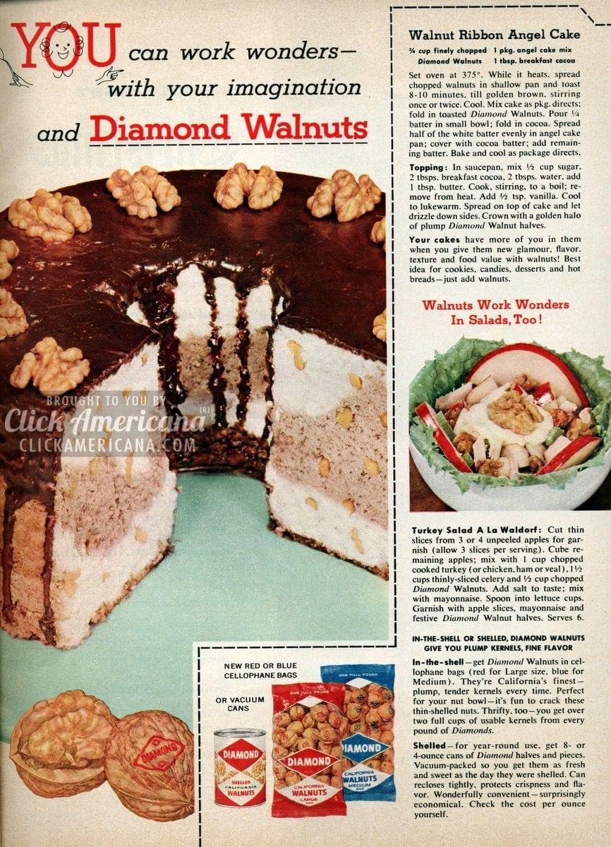 Walnut Ribbon Angel Cake recipe (1956)