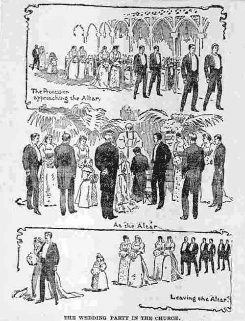 Wedding etiquette: Bridal procession (1893)