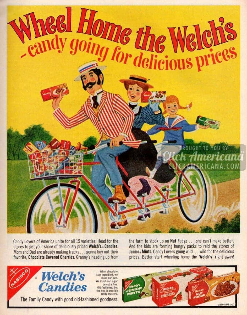 Welch's candies: Junior Mints, Cherries, Fudge (1966 ...