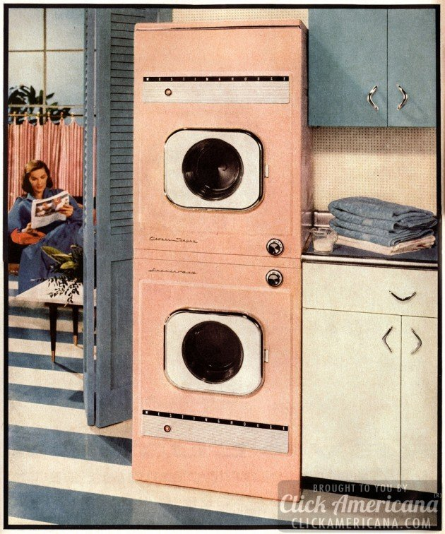 Housewife heaven! Doing the laundry in 1956