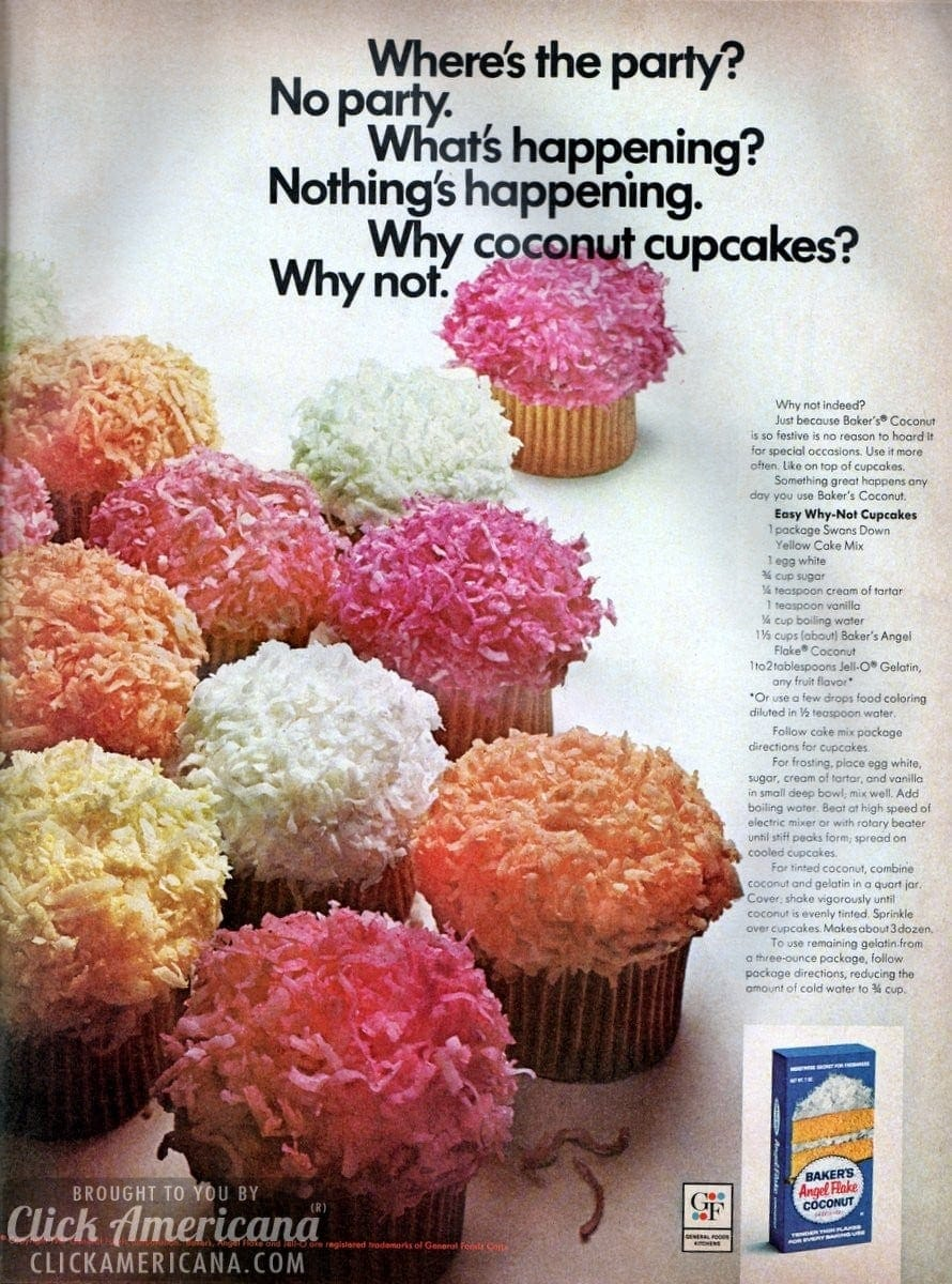 Easy Why-Not Coconut Cupcakes recipe (1967)