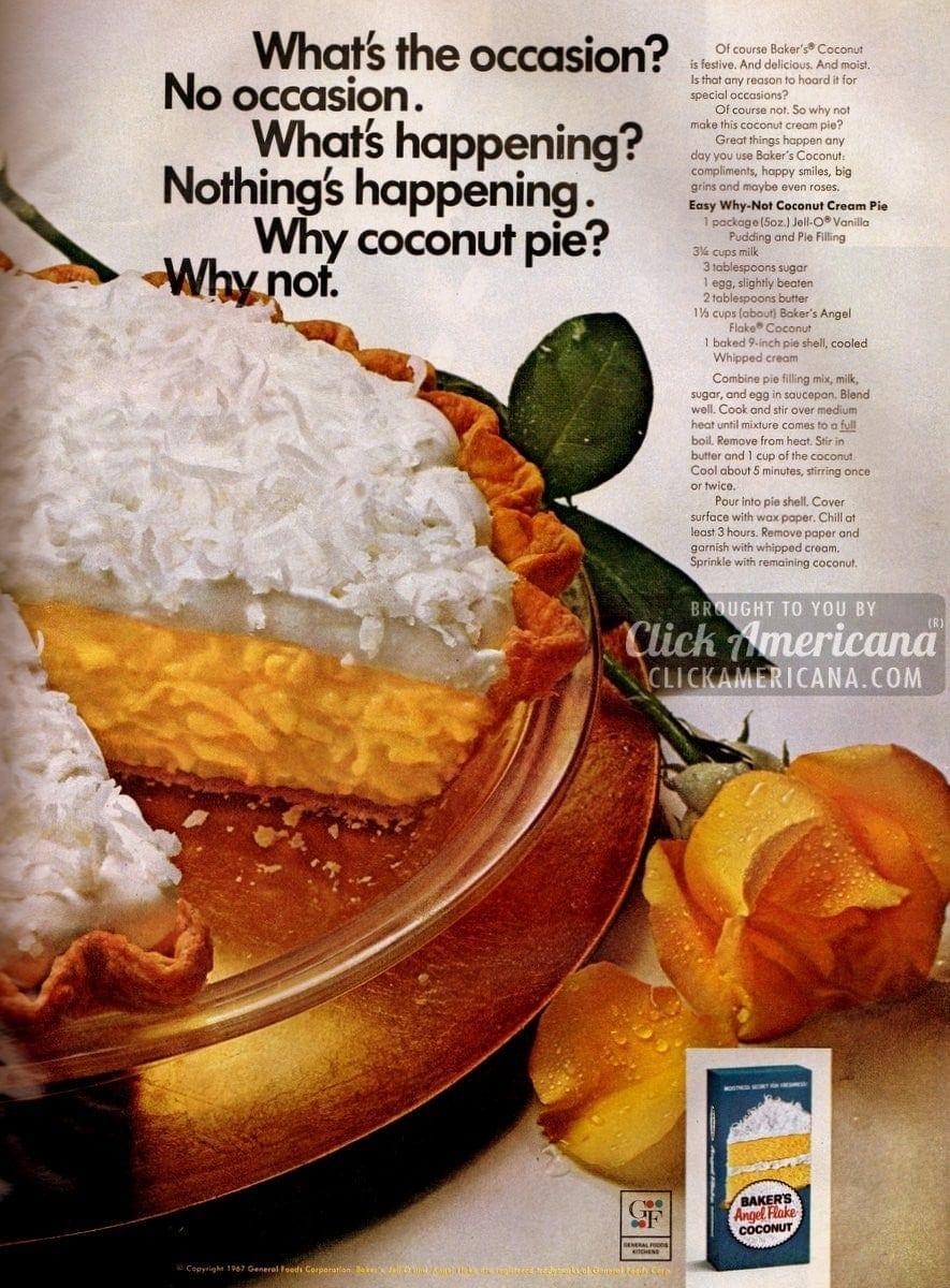 Easy Why-Not Coconut Pie recipe (1967)