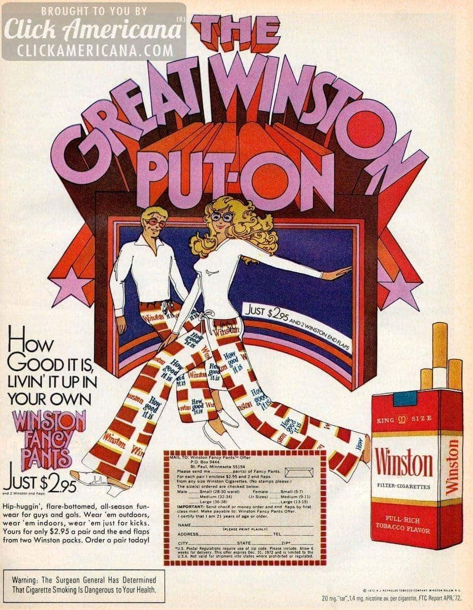 Winston cigarettes' Fancy Pants: Flared hip huggers (1972)